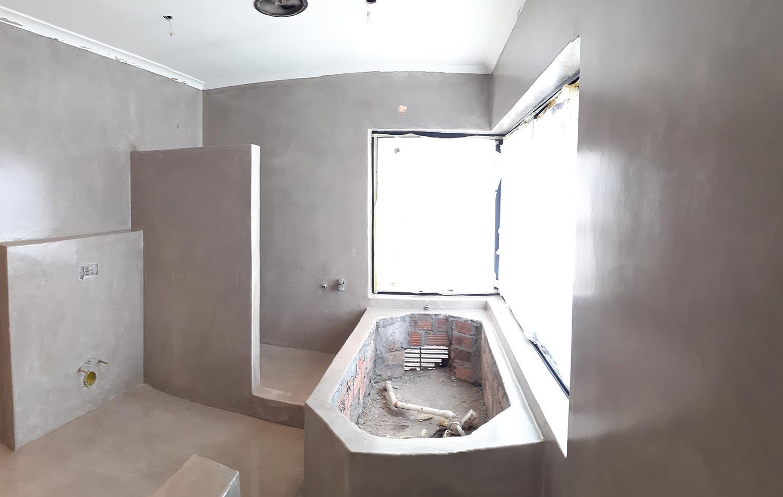 cement floor bathroom